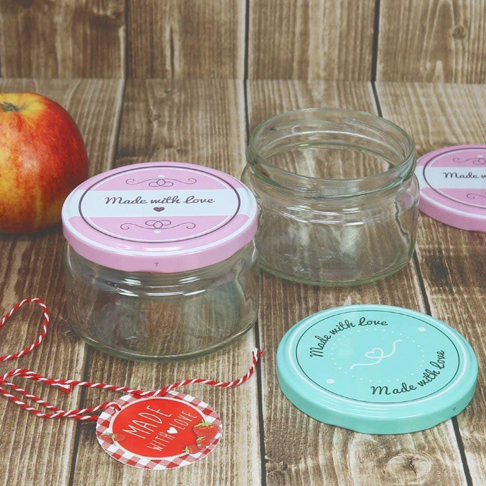 bis zu 330 ml com-four/® 12x Einmachgl/äser mit Schraub-DeckelMade with love in gr/ün und rosa TO /Ø 82 mm