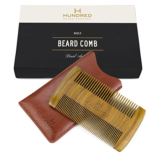 Dual Action Beard Comb & Protective Sleeve - Perfect for Balms and Oils - Sandalwood Scent, Fine/Coarse Tooth - Premium EDC Case and Gift Box Included