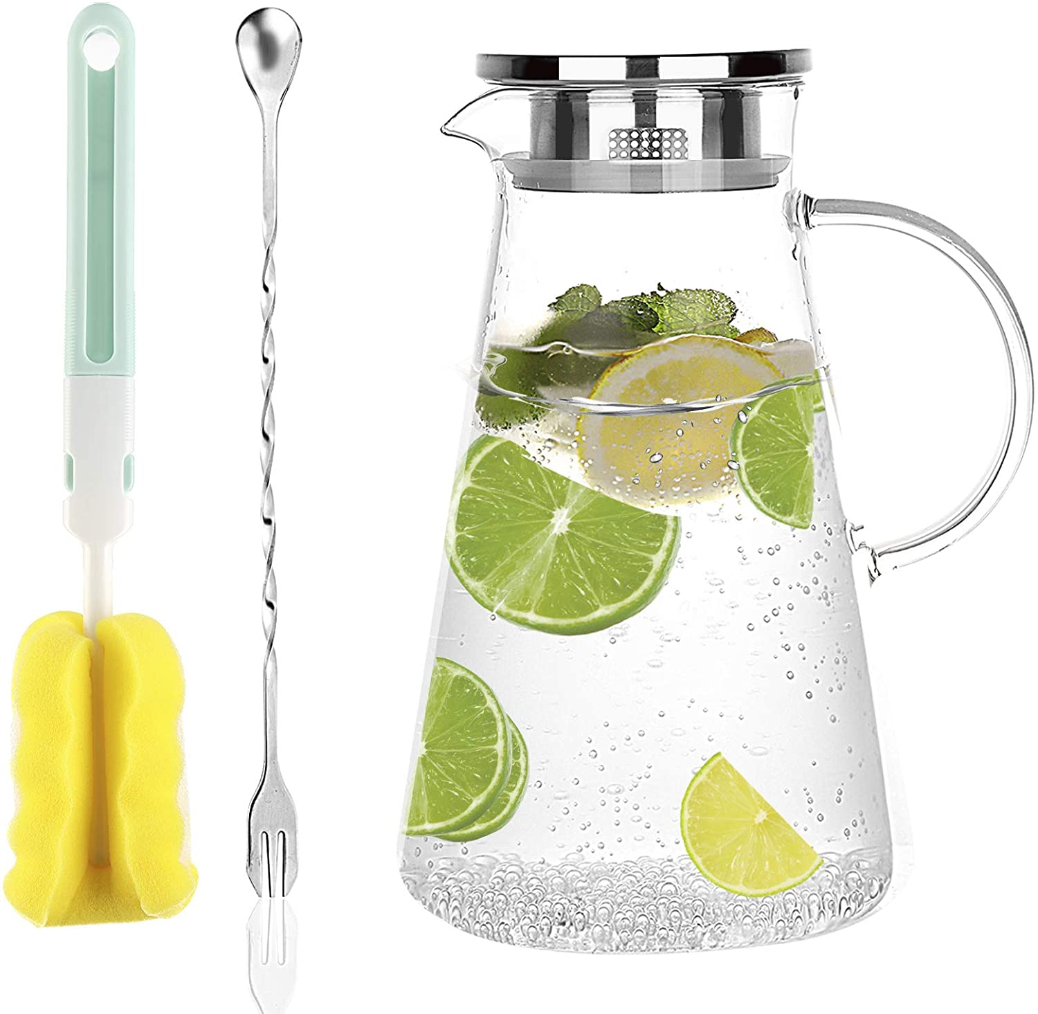 [68oz/2liter] DESIGN·MASTER Premium Borosilicate Glass Pitcher with Handle, Water Jug with Cleaning Brush and Mixing Spoon, Glass Water Carafe with Stainless Lid, Perfect for Hot/Cold Water, Juice.…