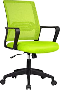 ComHoma Office Chair Ergonomic Desk Chair Mesh Computer Chair Mid Back Mesh Home Office Swivel Chair, Modern Executive Chair with Armrests Lumbar Support(Green),