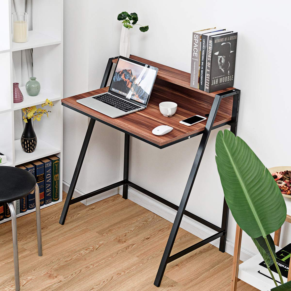 Study Writing Table Home Office Wood Sturdy Frame Compact Writing Table for Small Place Tangkula 2 Tier Computer Desk Apartment Dom Office Furniture Sofa Bed Table