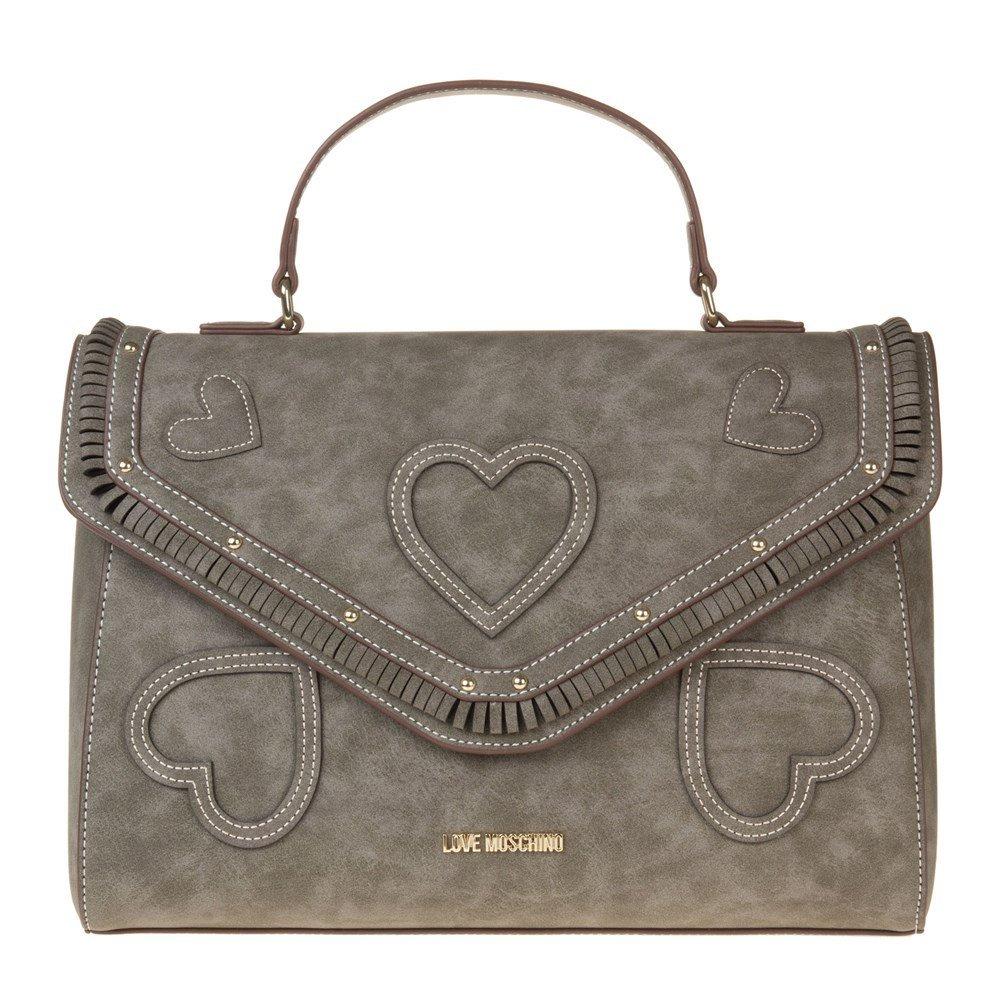 Love Moschino Branded Heart Womens Handbag Grey