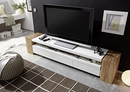 premium selection a40b6 8adb5 ModaNuvo 200cm Solid Oak & White Lacquered Modern TV Unit Cabinet Stand  Lowboard