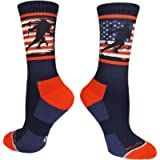 MadSportsStuff USA Lacrosse Socks with American Flag and Player Crew Length