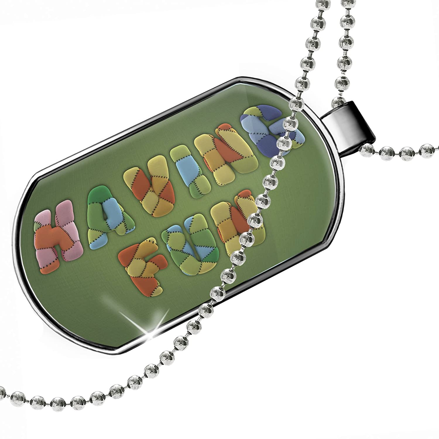 NEONBLOND Personalized Name Engraved Having Fun Modern Art Fabric Dogtag Necklace