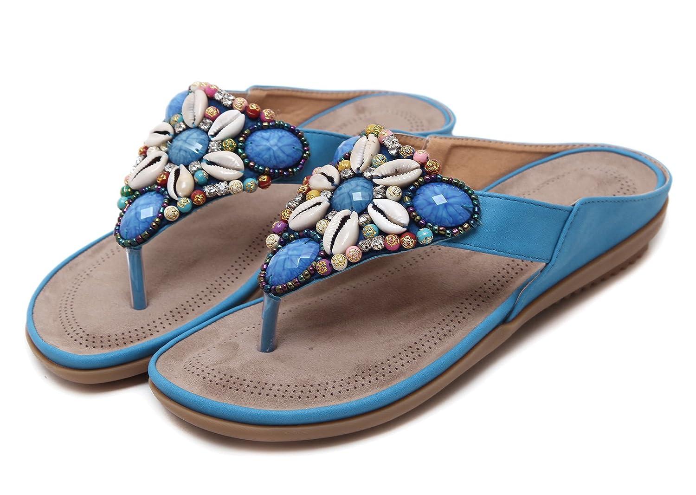 Women's Blue Beaded Rhinestone Cowrie Seashell Flat Flip-Flop Sandals - DeluxeAdultCostumes.com