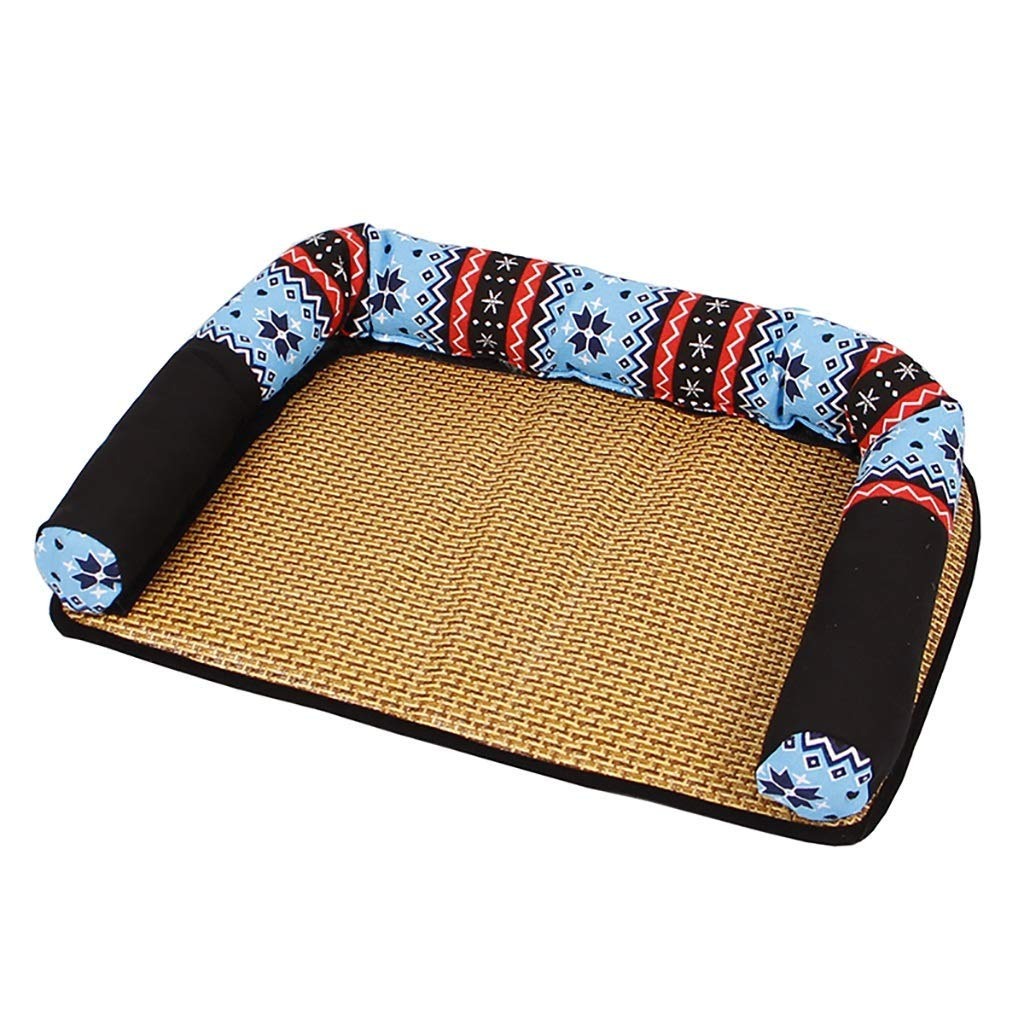 1  825810 1  825810 OrderSoil Pet House Cat Litter Kennel Ice Silk Mat Washable Mat Pet Nest Pet Pad Plant Rattan Safe Breathable Summer Apply