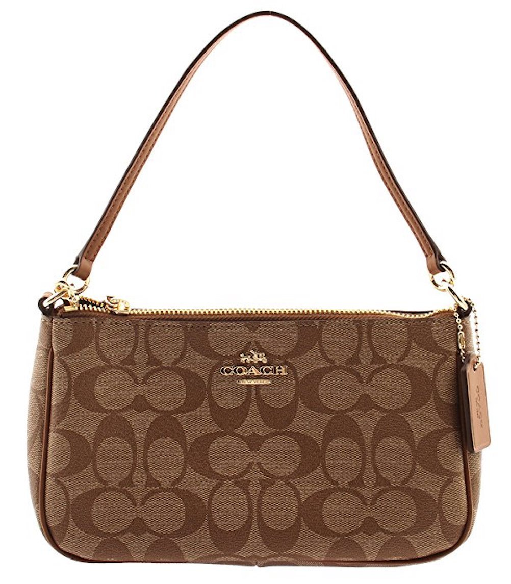 COACH Signature Coated Canvas Top Handle Crossbody, F58321 (Khaki/Saddle)