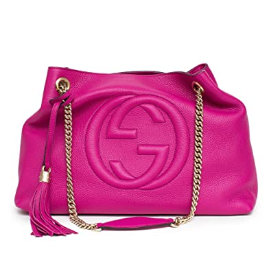 Amazon.com: Gucci Soho Leather Shoulder Bag Pink Bright ...