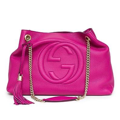 Amazon.com  Gucci Soho Leather Shoulder Bag Pink Bright Bouganvillia ... dd981c1a9fea4