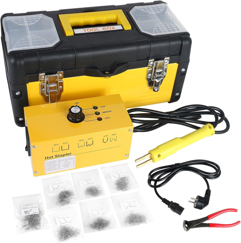 BELEY Kit de reparación de Parachoques de plástico para Auto, Grapadora de 220 V de plástico para Soldadura con 700 Grapas