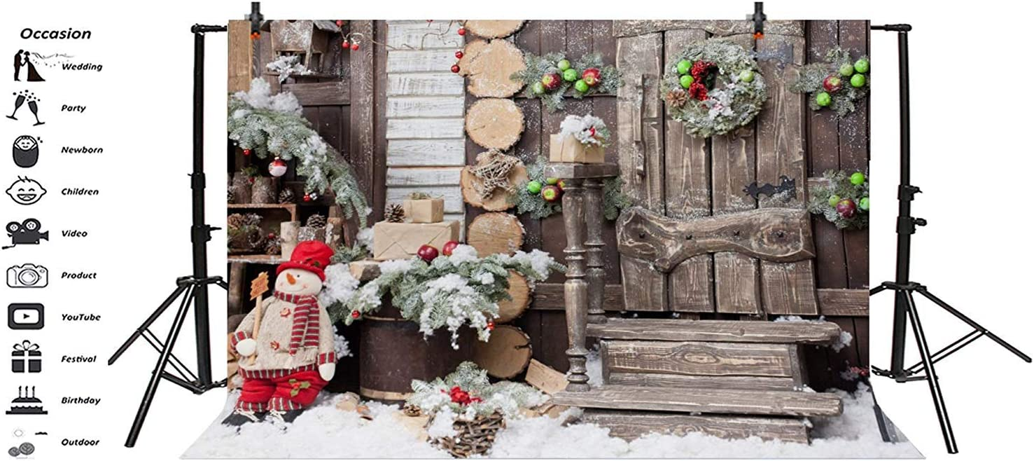 Christmas Theme Backdrop Vinyl 10x7ft Shabby Wooden House Frontage Stairs Green Apples Snowman Photography Background Xmas Party Banner Child Kids Baby Portrait Shoot Wallpaper