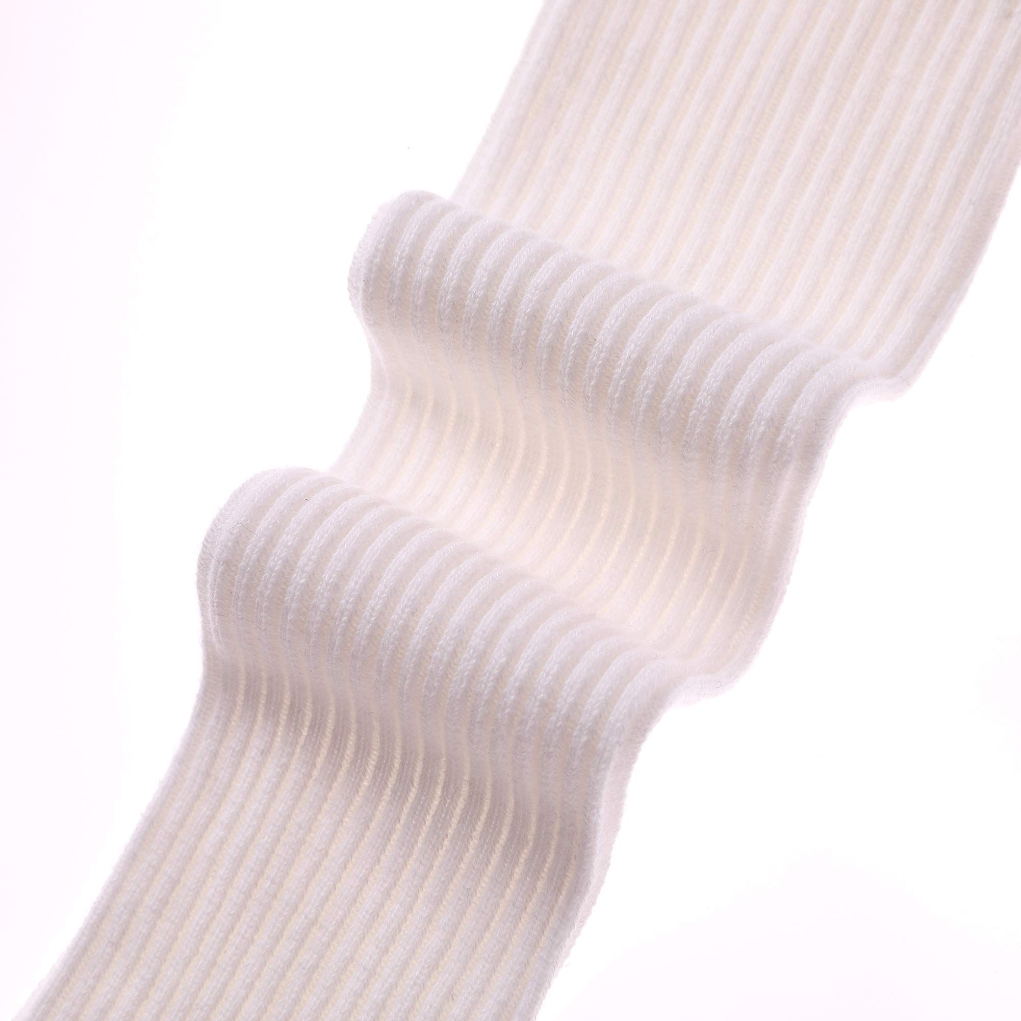 HERHILLY 3 Pack School Uniform Socks - Classic Stripe Cotton Over Knee-high Socks for Big Girls 3-12 Year old (9-12 Year Old, 3 Pack White) by HERHILLY (Image #6)