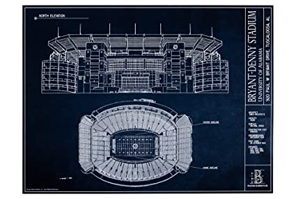 Amazon bryant denny stadium university of alabama blueprint bryant denny stadium university of alabama blueprint style print unframed 18quot malvernweather Image collections
