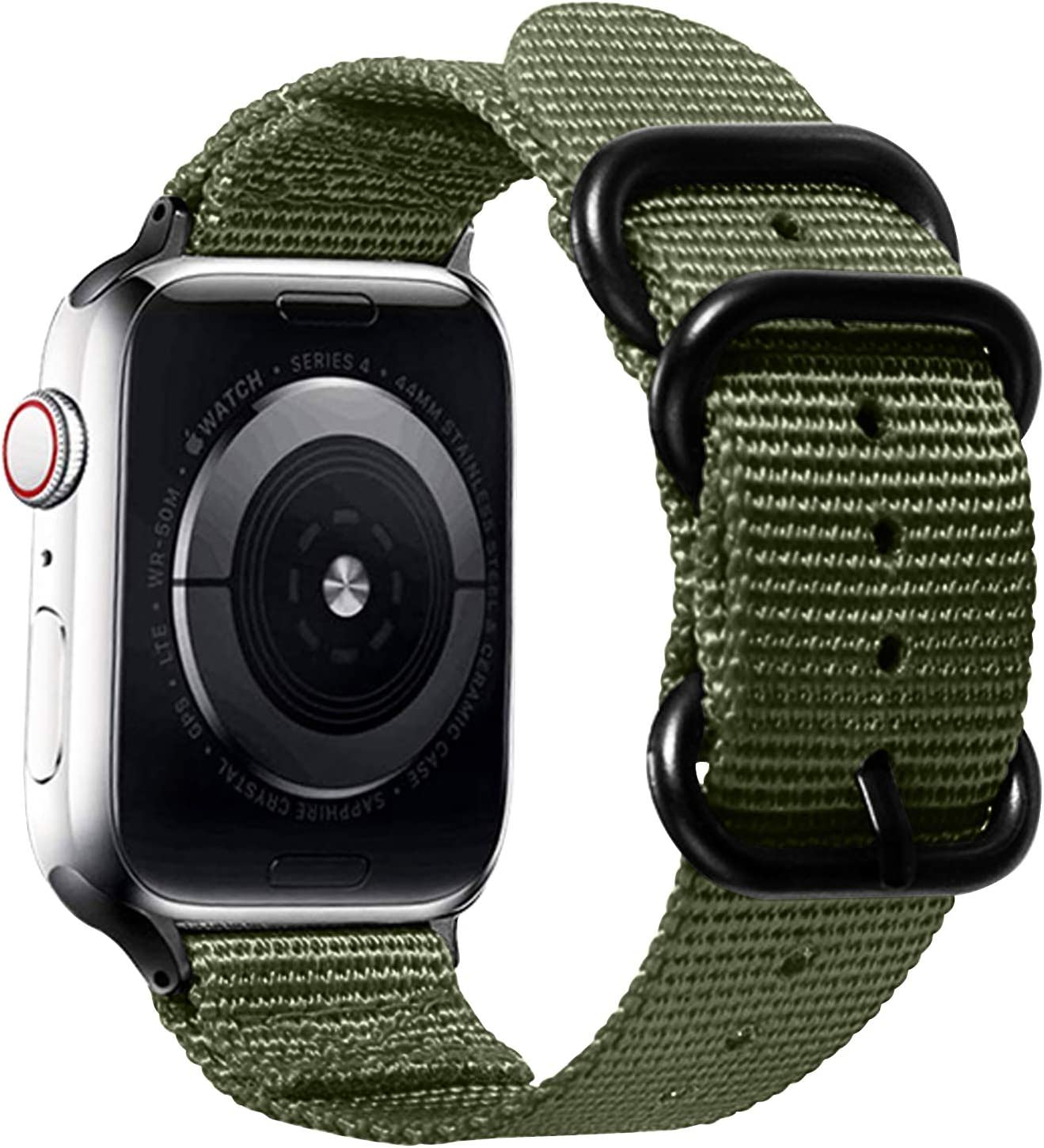 Watpro Compatible with Apple Watch Band 38mm 40mm 42mm 44mm Women Men Nylon Rugged Replacement iWatch Band Military-Style Buckle Grey Adapters for Sport Series 5 4 3 2 1 (1-Army Green, 42MM/44MM)