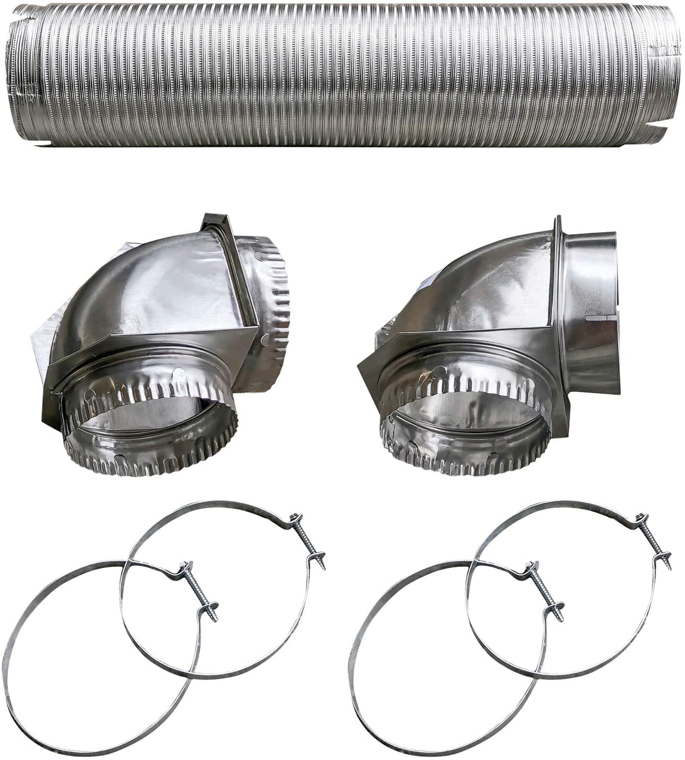 Builder's Best BDB110050 Semi-Rigid Dryer Vent Kit with Close Elbow, Silver