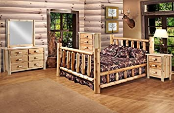 rustic 5 pc pine log bedroom suite lodge bed queen