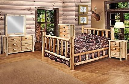 Rustic 5 Pc Pine Log Bedroom Suite Lodge Bed (Cali King)
