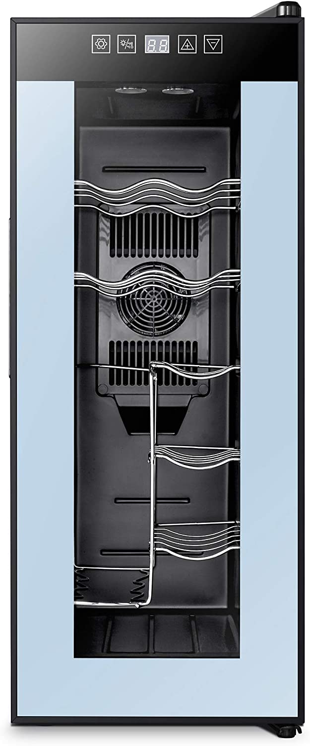 High Life DC 12 Bottle Wine Cooler Refrigerator with Thermoelectric Cooling, Optimal Drink Temperature, Iceless, Leakproof, Quiet Mini Fridge, Vertical and Horizontal Storage