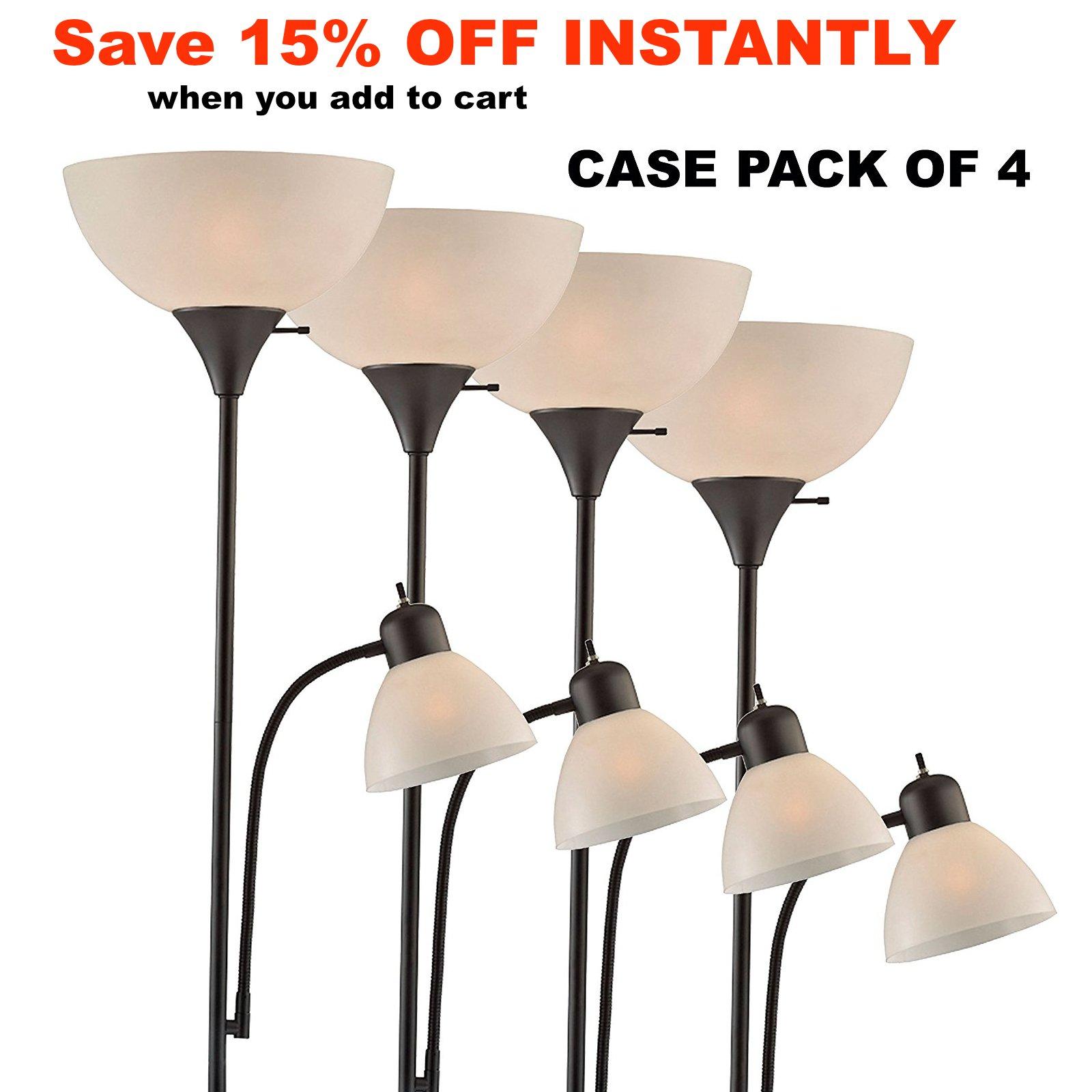 Light Accents 150 Watt Floor Lamp with Side Reading Light - Floor Lamps - Dorm Room Floor Lamp - Floor Lamps for Bedrooms - Kids Floor Lamp - College Floor Lamp (Black (Case of 4)) by Lightaccents (Image #4)