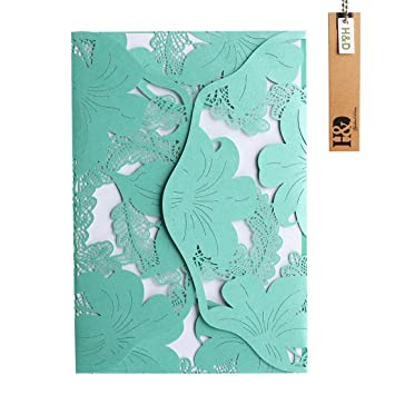Amazon yufeng 24pcs hollow floral laser cut tiffany blue yufeng 24pcs hollow floral laser cut tiffany blue wedding invitations cards kit for marriage engagement birthday filmwisefo