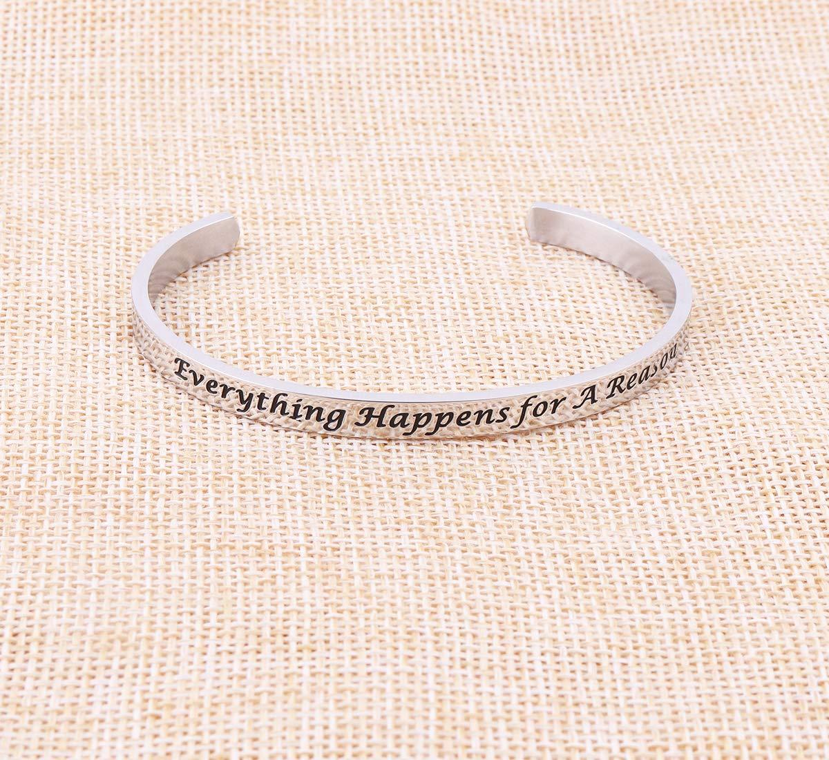 AZFEIYA Inspirational Bracelet Confidence Jewelry Motivational Cuff Bracelet Everything Happens for a Reason Encouragement Bracelet Personalized Birthday Gift (Silver Bracelet) by AZFEIYA (Image #3)