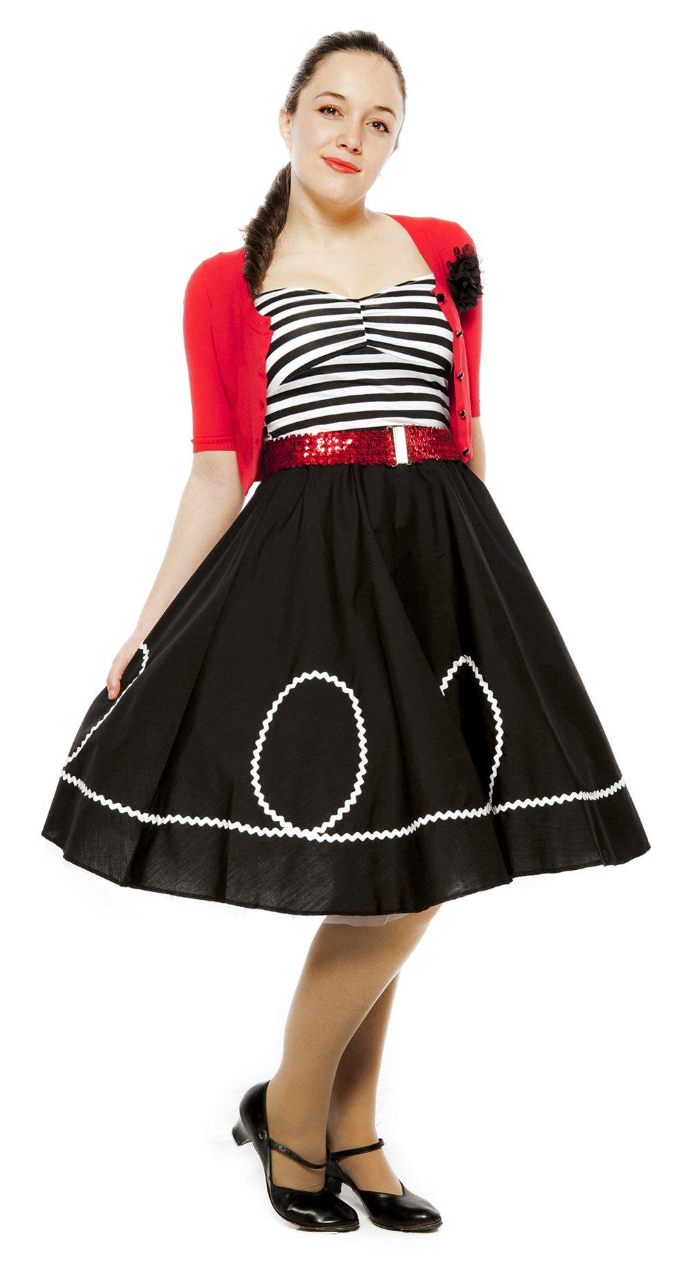 Black & White Ric Rac Circle Skirt - 50s Style (large / xlarge)