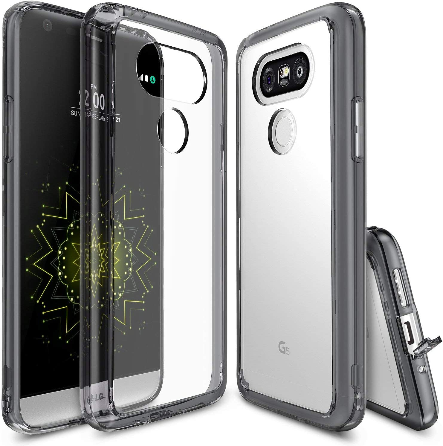 Ringke Fusion Compatible with LG G5 Case Crystal Clear PC Back TPU Bumper Drop Protection, Shock Absorption Technology Attached Dust Cap Raised Bezels Protective Cover for LG G5 2016 - Smoke Black