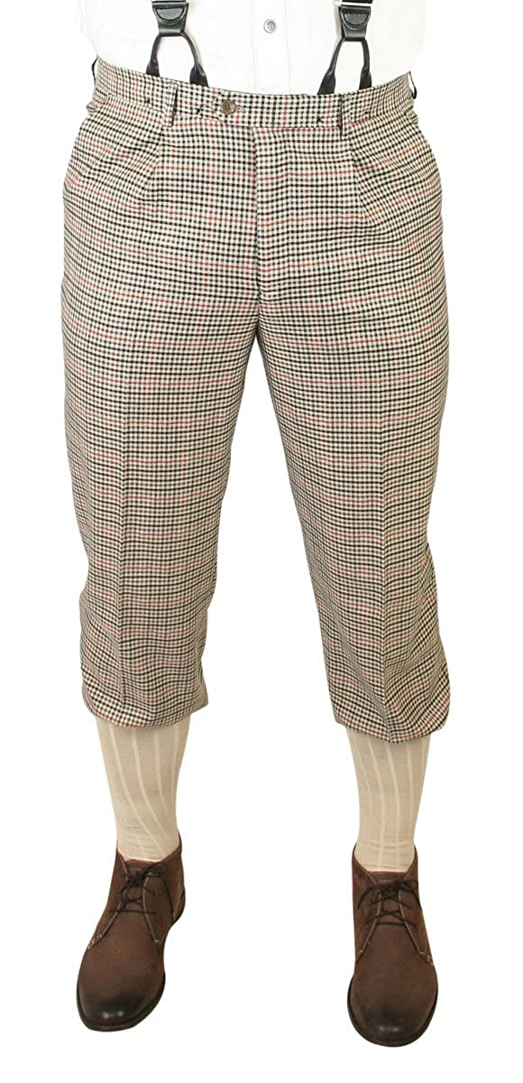 Vintage High Waisted Trousers, Sailor Pants, Jeans Historical Emporium Mens Pierce Plaid Knickers $64.95 AT vintagedancer.com
