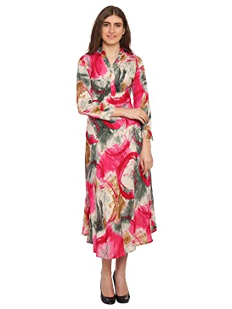 8b227302394 Fashionaire Beautiful and Stylish Long Off White Multi Color Printed Dress  for Women  Amazon.in  Clothing   Accessories