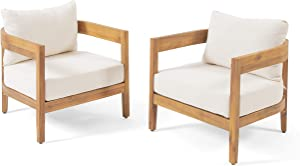 Christopher Knight Home 312395 Alfy Outdoor Club Chair with Cushions (Set of 2), Teak Finish, Beige