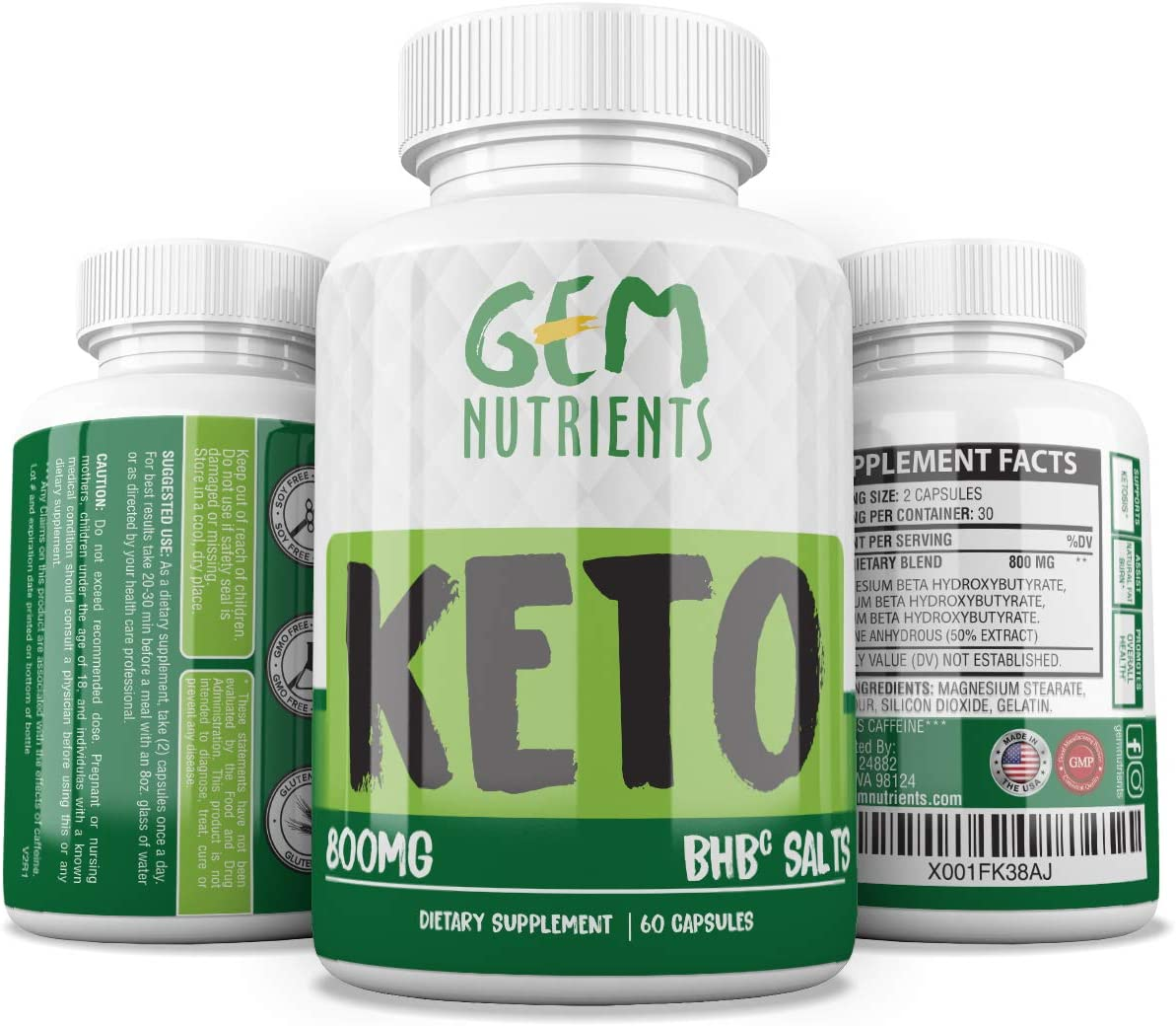 Advanced Instant Keto Diet Supplement – 800mg All-Natural BHBc Salts Keto Pills – GMP-Sealed, Non-GMO Product – Immune Booster, Mental Focus and for More Energy