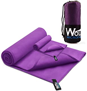 714334e807 Wolfyok 2 Pack Microfiber Travel Sports Towel XL Ultra Absorbent and Quick  Drying Swimming Towel (