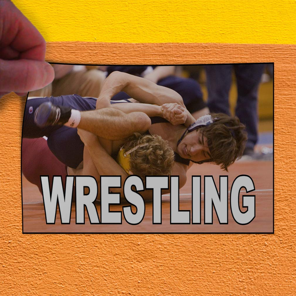 Decal Sticker Multiple Sizes Wrestling Brown Blue White Sports Wrestling Outdoor Store Sign Brown Set of 5 27inx18in