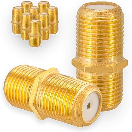 HB-DIGITAL 10x F-Conector Hembra/Hembra chapado en oro HQ para F-Conectores de cualquier tamaño 4-8,2mm para Cable de Antena Coaxial Cable Sat BK
