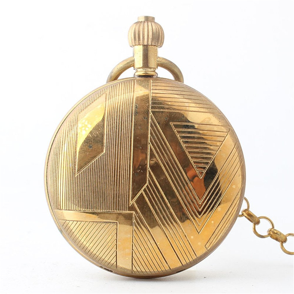 Zxcvlina Classic Smooth Exquisite Roman Numerals Retro Pocket Watch Boutique Women Men Golden Mechanical Pocket Watch with Chain Suitable for Gift Giving