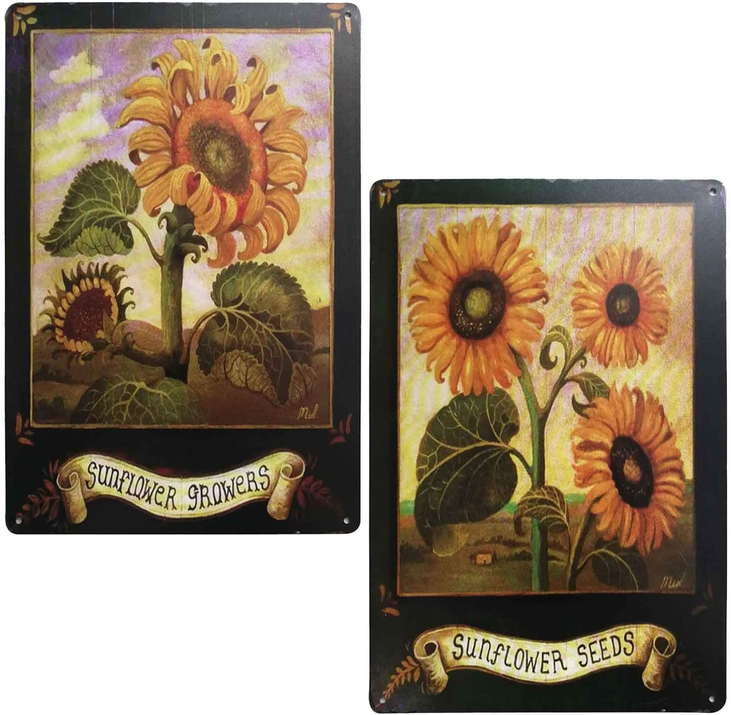 TISOSO Sunflower Growers Vintage Style Tin Sign Country Home Decor Wall Art Posters and Prints Home Office Decoration 2Pcs-8X12Inch