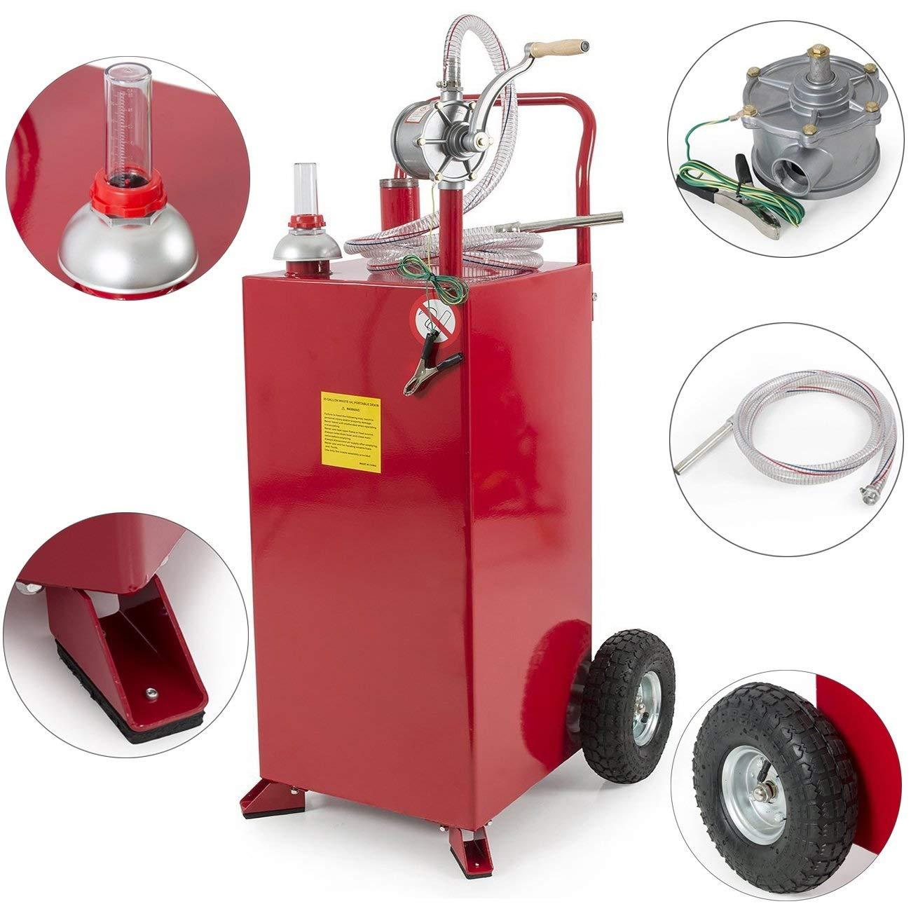 Stark 30 Gallon Gas Caddy Tank Gasoline Fluid Diesel Fuel Transfer Storage Dispenser with Pump, Red by Stark USA