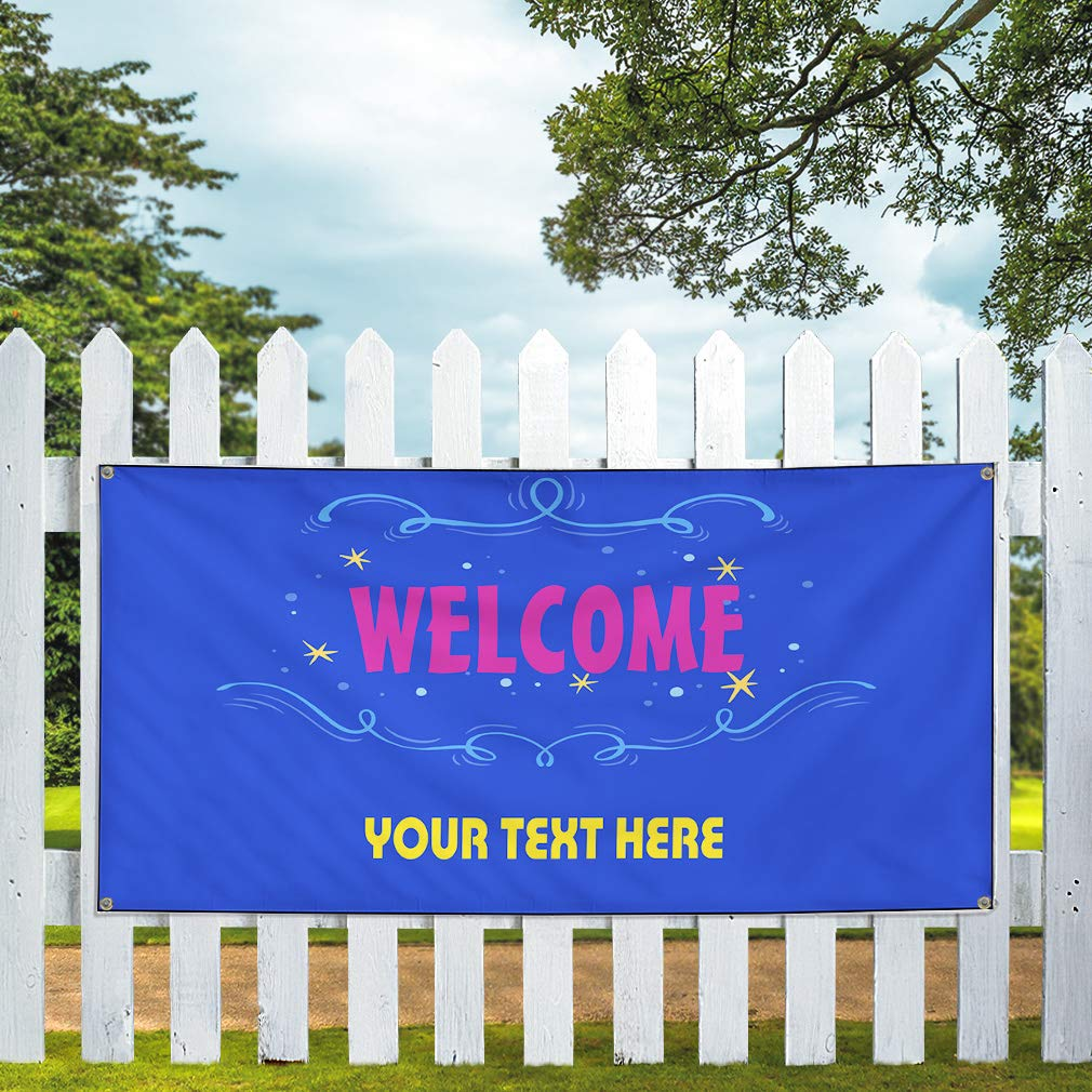 Custom Industrial Vinyl Banner Multiple Sizes Welcome Style A Personalized Text Here Business Outdoor Weatherproof Yard Signs Blue 8 Grommets 44x110Inches