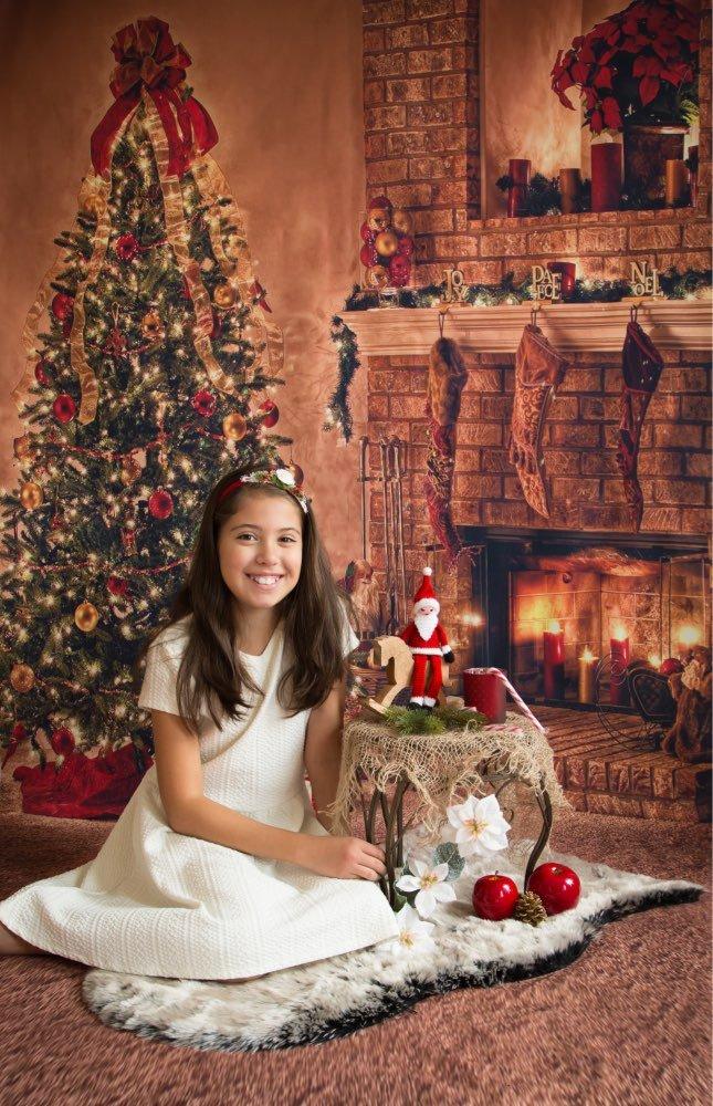 5/x 7ft tel/ón de fondo fotogr/áfico /Árbol de Navidad chimenea xt060