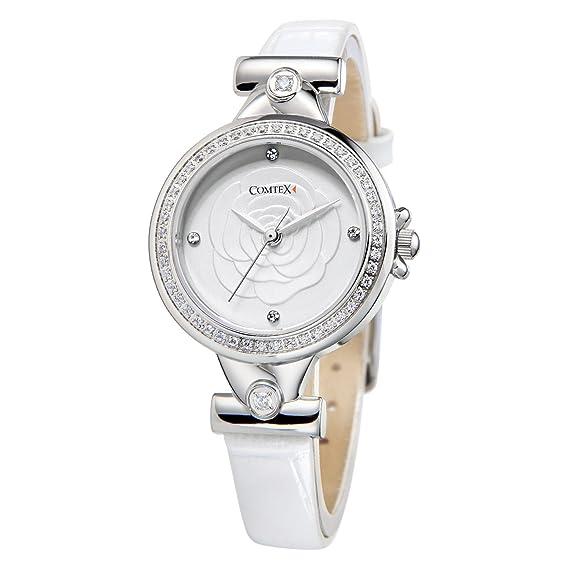 Reloj mujer blanco brillantes cristal a la moda con correa de cuero: Amazon.es: Relojes