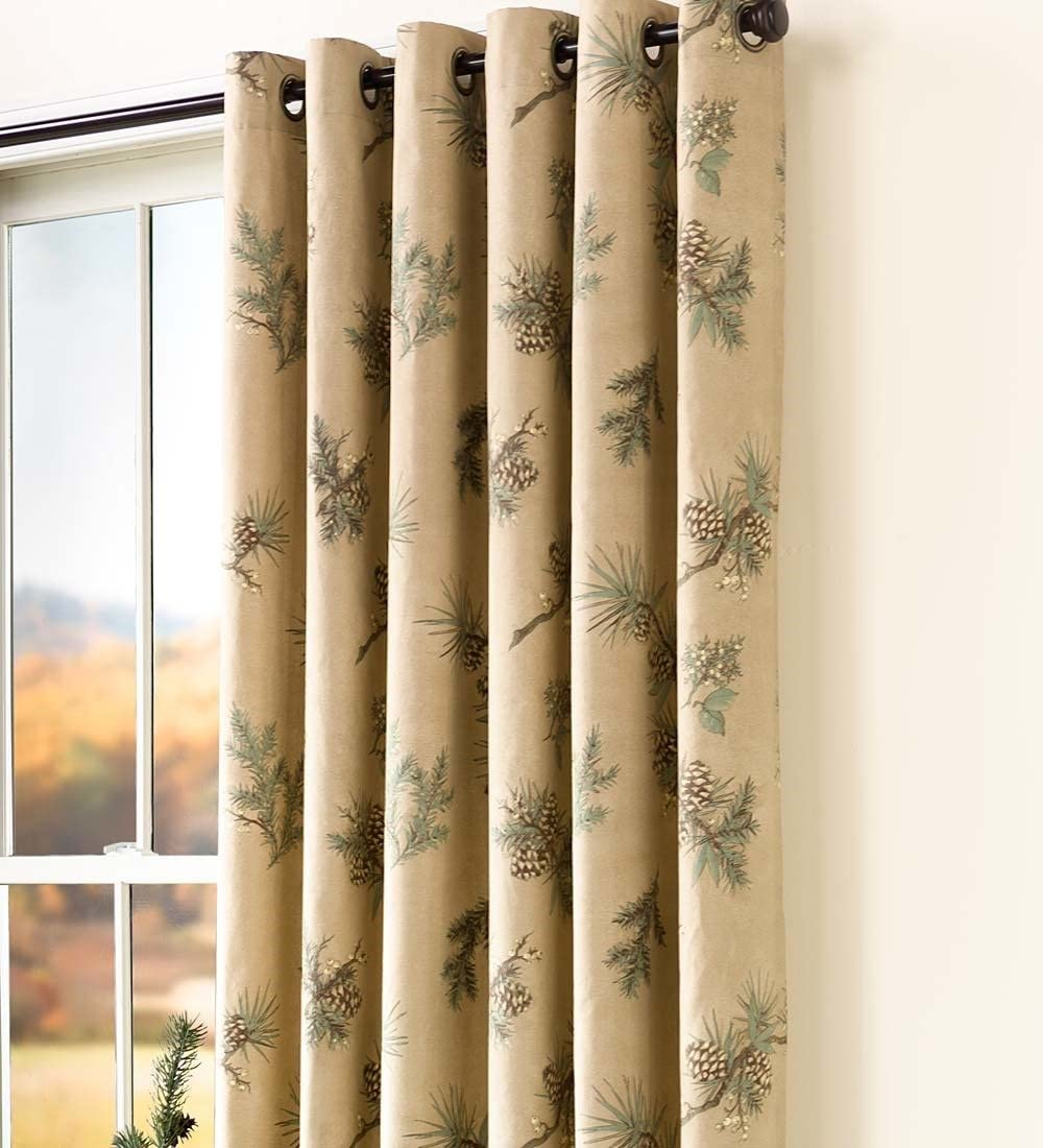 Plow Hearth Thermalogic Insulated Peaceful Pine Grommet-Top Curtain Pairs, 84 L Double Width