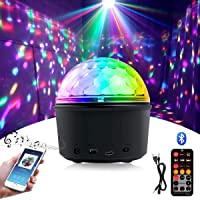 Party Disco Ball Light, Wireless Bluetooth Speaker 15W 9 Colors LED Magic Rotating Ball Disco Lights Mini Night Light…