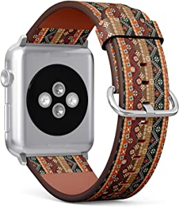 Compatible with Apple Watch 38mm & 40mm (Series 5, 4, 3, 2, 1) Leather Watch Wrist Band Strap Bracelet with Stainless Steel Clasp and Adapters (Boho Tribal)