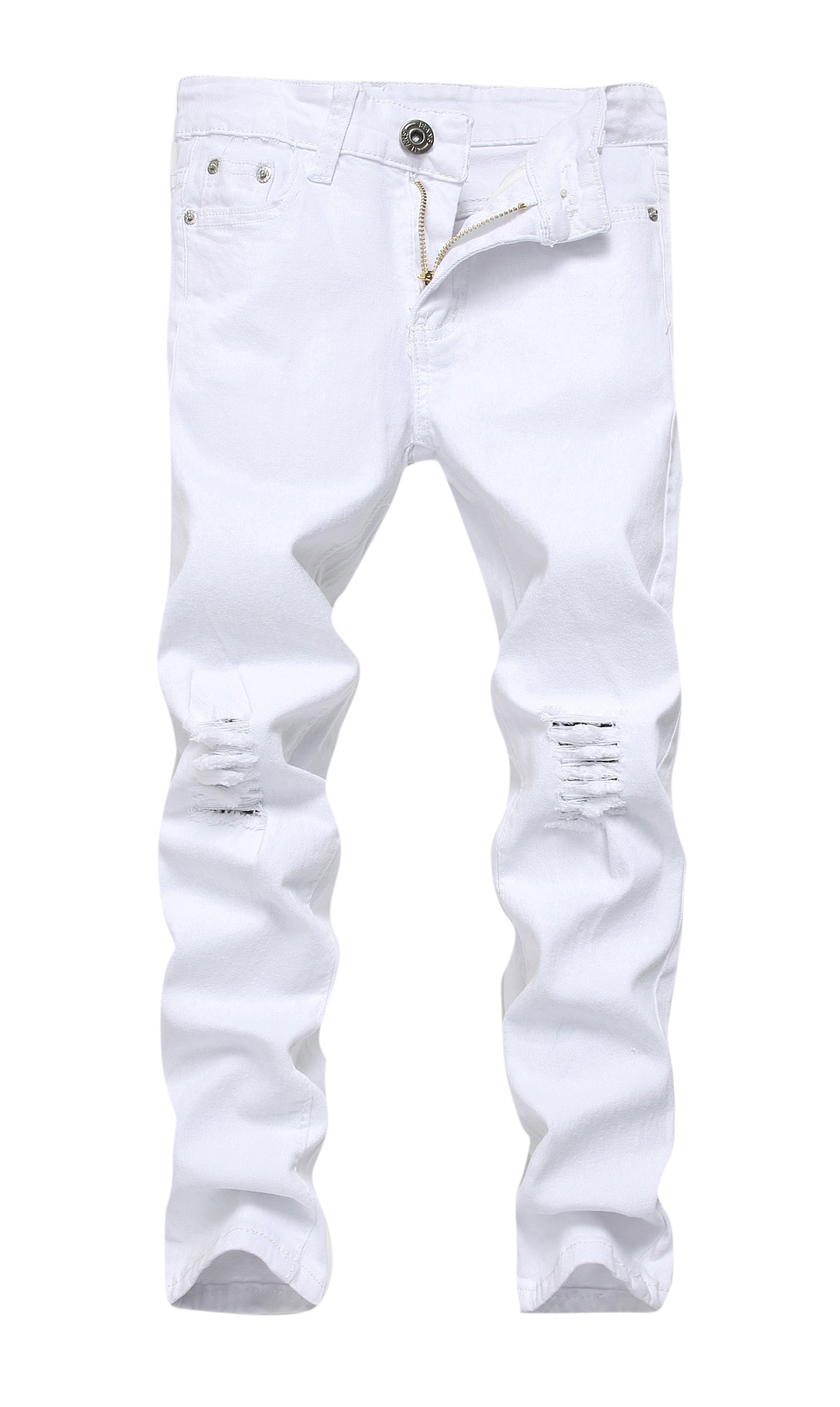 FREDD MARSHALL Boy's White Skinny Fit Ripped Destroyed Distressed Stretch Slim Jeans Pants by FREDD MARSHALL