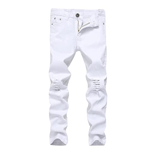 FREDD MARSHALL Boys Skinny Fit Ripped Destroyed Distressed Stretch Slim Jeans Pants