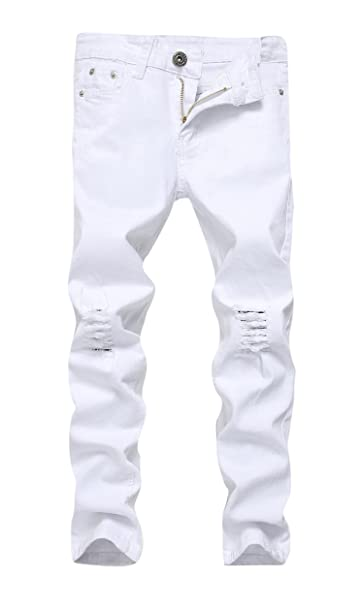 457794539463 FREDD MARSHALL Boys White Skinny Fit Ripped Destroyed Distressed Stretch  Slim Jeans Pants, Size 10