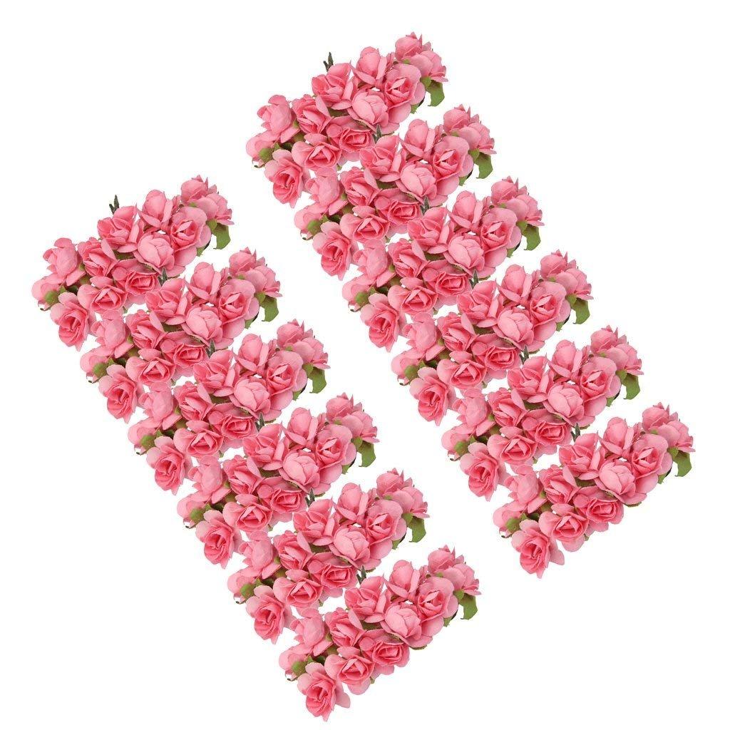 Gleader 144 Stk. Mini Papier Rose Hochzeit Blumen fuer Handwerk Hochzeitsbevorzugungskasten (Rosa) GABREBI