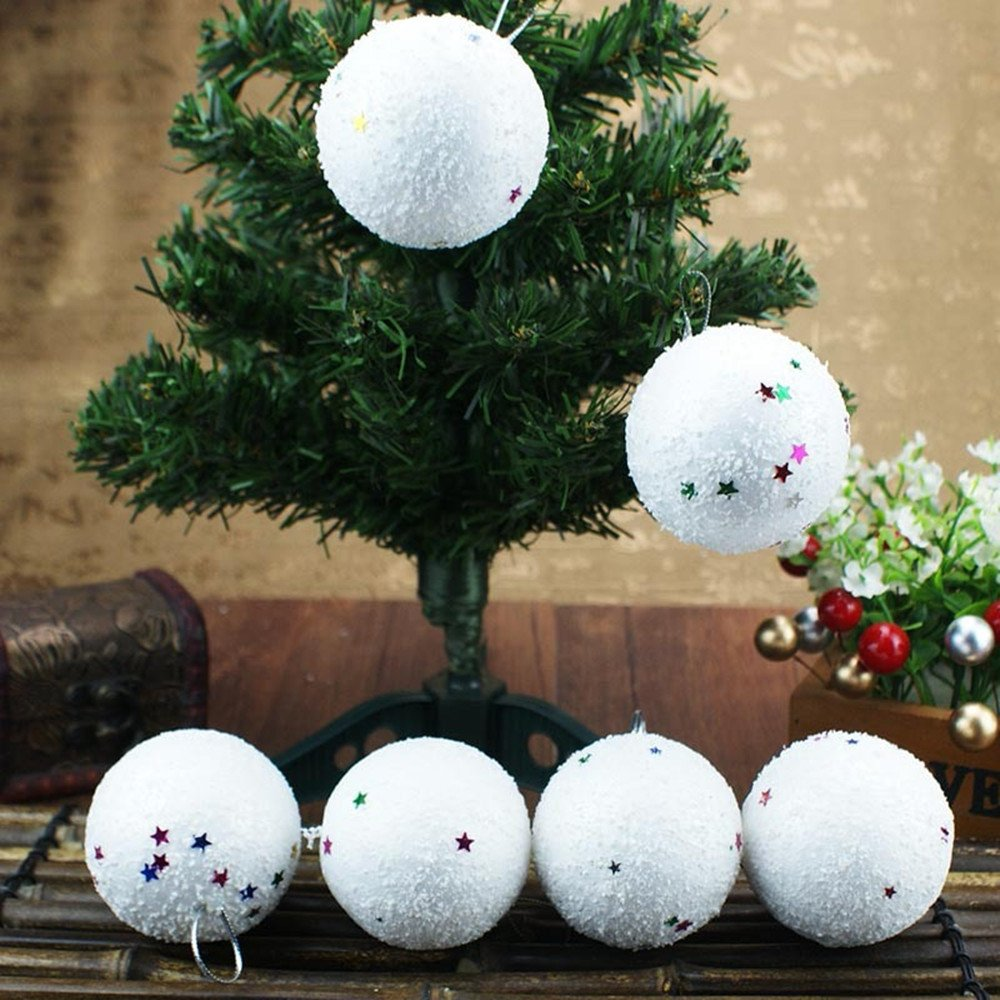 6 Pcs Christmas Ornament Balls 2018, Xmas Tree Foam Snowballs Hanging Ball Bauble Decorations for Indoor Outdoor Holiday Party Festival Wedding Home Decor (6cm)