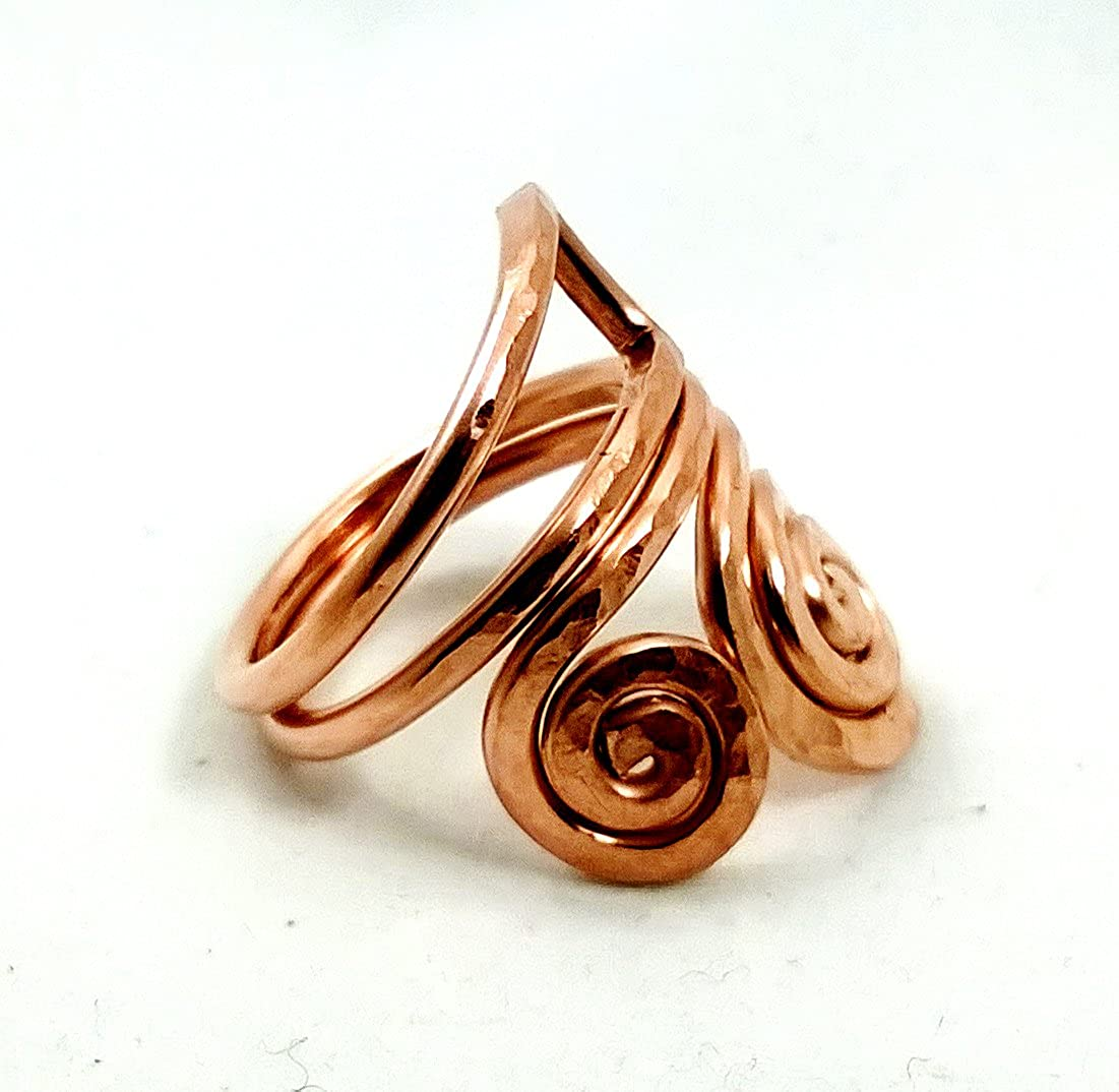 Copper ring textured and hammered in a spiral shape